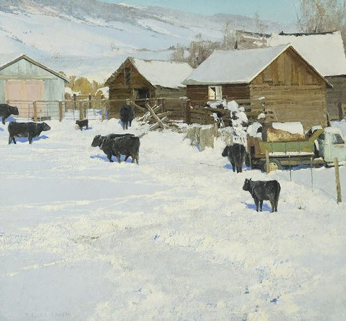 The Salt Lick, oil on panel, 26 x 28ins (66 x 71cm), by T. Allen Lawson
