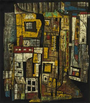 Chen Li, 1991, Wooden Houses Street, reduction woodblock print, 63 x 55cm, Edition 6/8