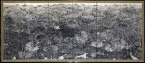 Tatsuaki Oyama,Renchi  蓮池, mineral pigment on washi © Tatsuaki Oyama, courtesy of Oto Art