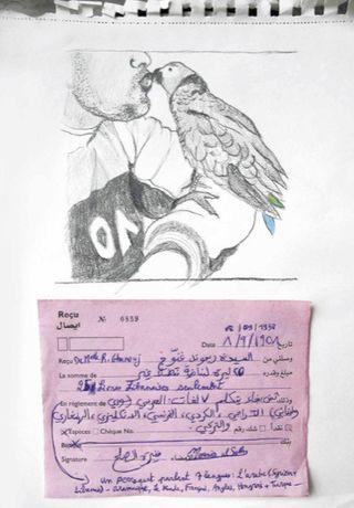 Mounira Al Solh, Multilingual Parrot, sketch, 2016