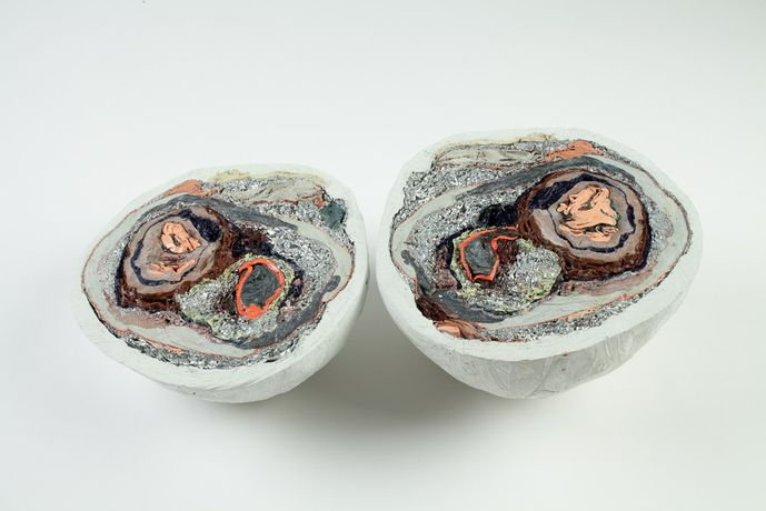 """Halved Planet with Multiple Cores"", 2019, acrylic, epoxy clay, and aluminum, 6.5 x 12.5 x 7 inches © Sarah Trigg, Courtesy of the Artist"