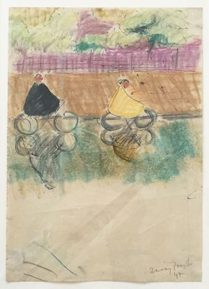 Cyclists, Battersea, 1947, pen, ink & crayon on paper, 20 x 28 cm