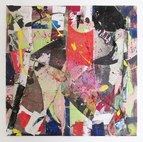 Pleasure Trip' EC 40 x 40 cm Oil acrylic tape spray paint collage on canvas