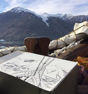 Anne Laure sketching in Greenland