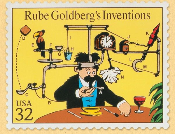 "Rube Goldberg, Rube Goldberg Inventions United States Postal Service Stamp (included on sheet of ""Comic Classics"" stamps), date unknown. Sheet of USPS stamps. Artwork Copyright © Rube Goldberg Inc. All Rights Reserved. RUBE GOLDBERG ® is a registered trademark of Rube Goldberg Inc. All materials used with permission. www.rubegoldberg.com"