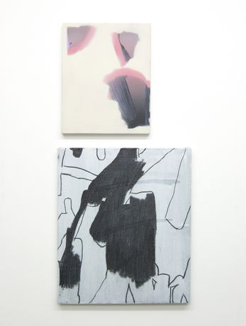 'Tooth Root' (diptych); acrylic, spray paint, and charcoal on canvas and panel, dimensions variable. 2015