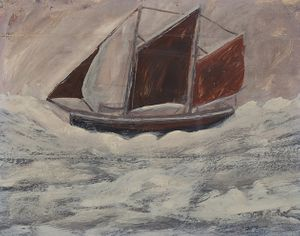 Alfred Wallis, Boat, 1930, oil on paper, Courtesy Bishop Otter Trust, University of Chichester