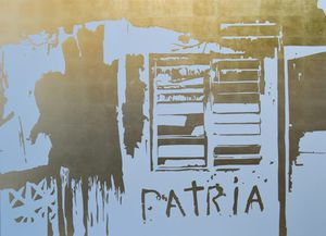 Patria, gold leaf on canvas, 58 x 78 inches, 2018