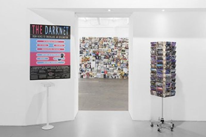 exhibition view Anonymous, I'll be there in 30 Minutes, 2011; Archiv Valentina Tanni,The Great Wall of Memes, 2012-2014 Courtesy: Anonymous: Anonymous; Valentina Tanni: the artist, Anonymous Photo: Kunst Halle Sankt Gallen, Gunnar Meier
