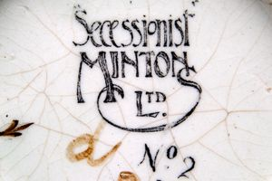 Detail of the printed mark found on the base of an early Mintons Secessionist example from the Alessandra and Simon Wilson collection.