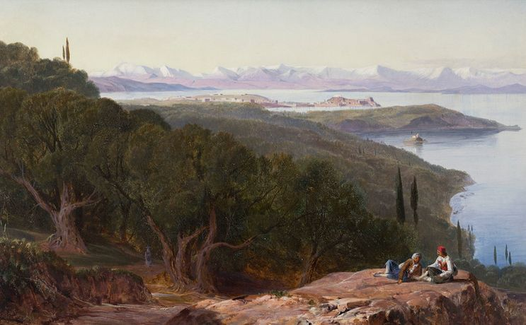 Edward Lear, View from the Benitza Road, near Gastouri, Corfu.  Courtesy of The Fine Art Society
