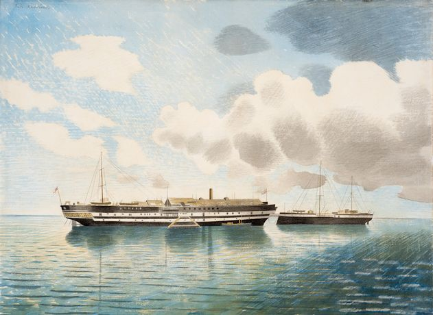 Eric Ravilious, HMS Actaeon. Courtesy of The Fine Art Society