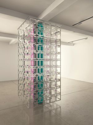 Carla Arocha & Stéphane Schraenen, Column, 2015. Acrylic, stainless steel and Plexiglas, 300 x 130 x 130 cm. Courtesy of the artists. Simulation by Pieter Maes.