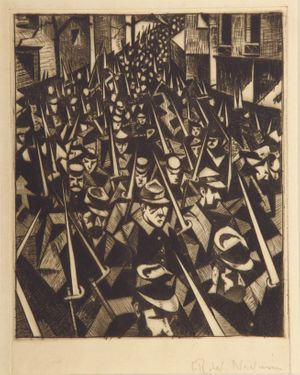 C.R.W. Nevinson, A.R.A. (1889 - 1946), A Dawn, 1914, copyright Estate of C.R.W. Nevinson