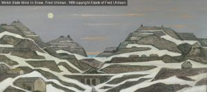 Welsh Slate Mine in Snow, Fred Uhlman, 1958 copyright Estate of Fred Uhlman
