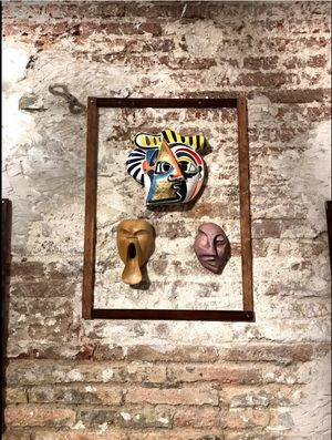 Manifest Destiny Art - The Masks We Wear - 3 masks of 20 Global Masks on Display
