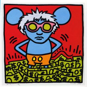Keith Haring, Andy Mouse, hand-signed silkscreen 38 x 38 inches