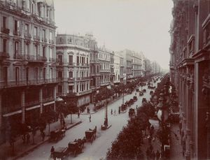 Avenue de Mayo , 1914. Unknown photographer. Gelatin silver print in Travel Albums from Paul Fleury's Trips to Switzerland, the Middle East, India, Asia, and South America, 1896-1918. Courtesy of The Getty Research Institute