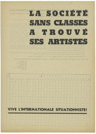 "Internationale Situationniste ""La Société sans classes a trouvé ses artistes"", Flugblatt 