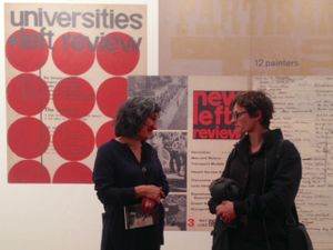 Curator Carla Mitchell with visitor
