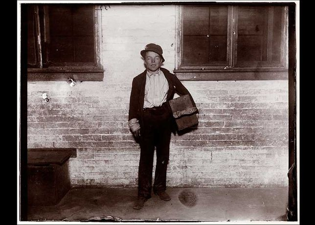 Tommy (Holding His Bootblack Kit) by Jacob Riis / Modern gelatin silver print from dry plate negative, c. 1890 (printed from original negative, 1994) Museum of the City of New York, New York City; gift of Roger William Riis, 1990