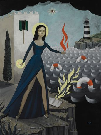 Anne Faith Nicholls, A Flame for the Refugees, acrylic on canvas, 48 x 36 inches