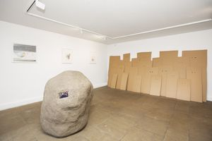 Installation view – right: That Thing Inside The Thing Outside of The Thing Inside of This Thing (2015) Left: What do you want more of? (2010) by Jack Strange. Photography by Eoin Carey. Image courtesy of Pump House Gallery.