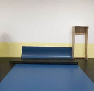 Thea Djordjadze, Untitled, 2013 Steel, lacquer, wood, plywood, linoleum  Courtesy the artist and Sprüth Magers Berlin London