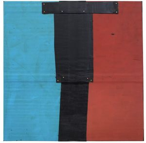 Theaster Gates, Flag Sketch, 2020  Industrial oil-based enamel, rubber torch down, bitumen, wood, and copper nails, 72 × 72 inches (182.9 × 182.9 cm) © Theaster Gates