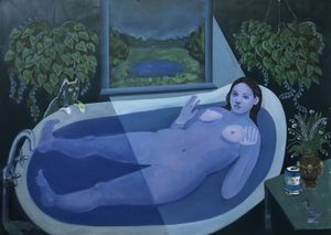 Bambou Gili, Ophelia in the Tub, 2019, Oil on linen, 52″ x 72″