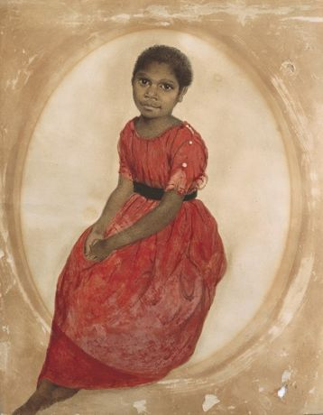 TThomas Bock, Mathinna (1842), Watercolour, Collection Tasmanian Museum and Art Gallery, presented by J H Clark, 1951