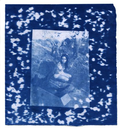 Thomas Mailaender, Dog Grave, 2014. Cyanotype print on paper with rocks rayogram