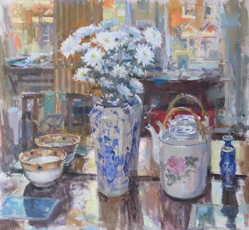 John Martin RBA Studio Table with Chinese Vase oil on canvas 22 x 24 ins (56 x 61 cms)