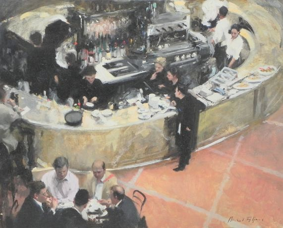 Michael Alford City Lunch, 4 oil on board 24 x 30 ins (61 x 76 cms)