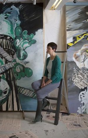 Susan Sluglett in her Studio during the Jerwood Painting Fellowship, 2013, courtesy of the artist