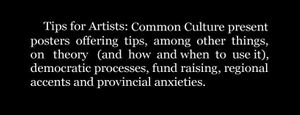 Tips For Artists by Common Culture