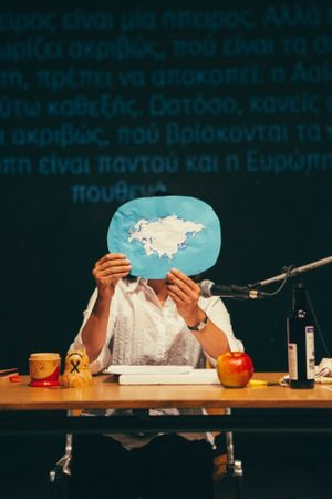 Yoko Tawada at Love Letters to a (Post-) Europe curated by Lisa Alexander, Athens, 2015. Image: Efytchia Vlachou