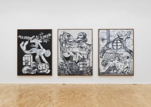 Installation view, Tobias Pils: 3 paintings 2 drawings 1 triptych, Eva Presenhuber, New York, 2020 © Tobias Pils Courtesy the artist and Galerie Eva Presenhuber, Zurich / New York