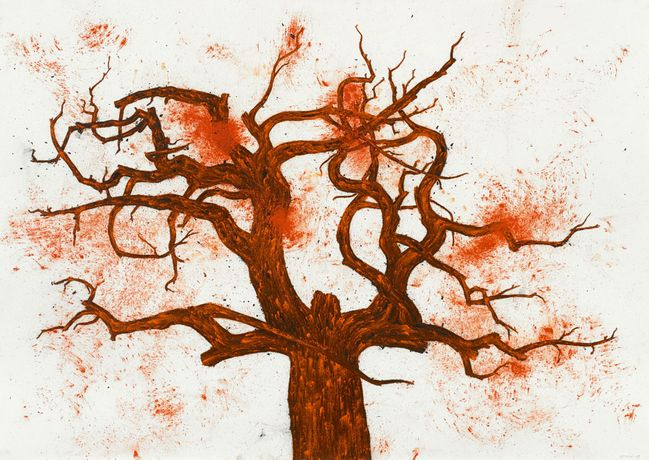 Tony Bevan (b. 1951) Tree (no 9) (PP1327), 2013 Acrylic and charcoal on paper. Courtesy of Ben Brown Fine Arts