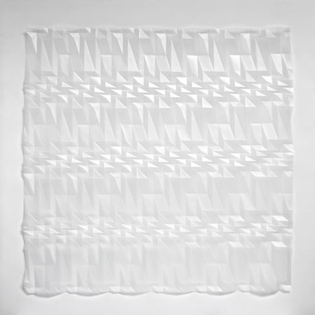 Moiré Square, one of Tony Blackmore's large-scale hand-folded paper reliefs