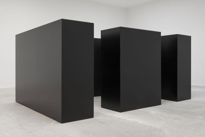 Maze, 1967 Steel, painted black Two units: 6'8 x 10' x 30 (203 x 305 x 76 cm) Two units: 6'8 x 5' x 30 (203 x 152 x 76 cm)