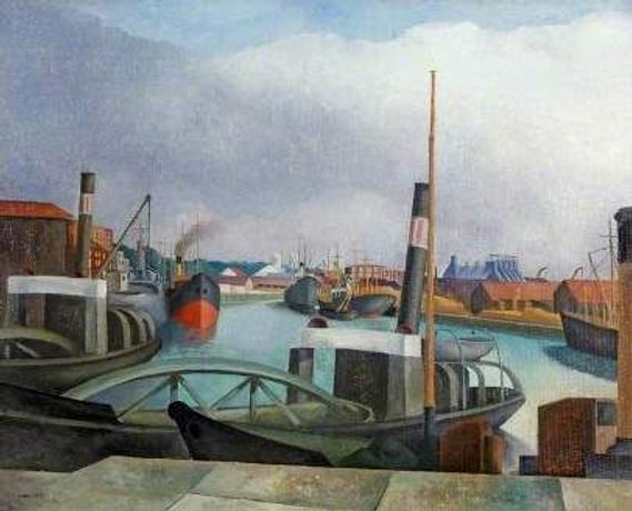 John Nash, The Dredgers, Bristol Harbour, c.1924, Oil on canvas, Gift of the Contemporary Art Society, 1954