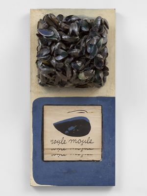 Marcel Broodthaers Roule Moule, 1967 White and blue painted panel, mussel shells, book pages