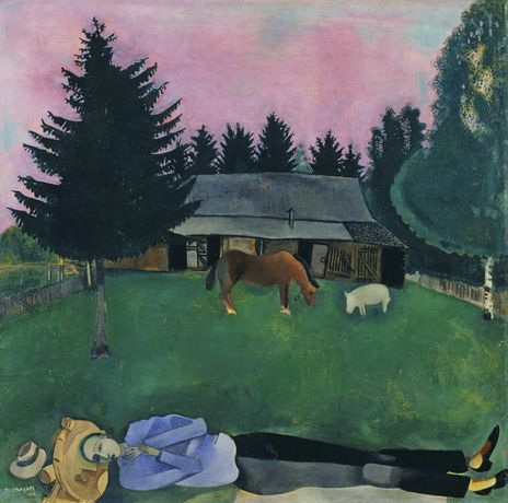 Marc Chagall (1887-1985), The Poet Reclining, 1915. Oil on Cardboard. Photograph © Tate, London 2016. Chagall ® / © ADAGP, Paris and DACS, London 2016