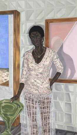 Toyin Ojih Odutola (b. 1985), Pregnant, 2017. Charcoal, pastel and pencil on paper, 74 1/2 x 42 in. ©Toyin Ojih Odutola.  Courtesy of the artist and Jack Shainman Gallery, New York