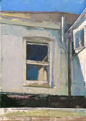 ' Studio Window', oil on board, Kay Vinson