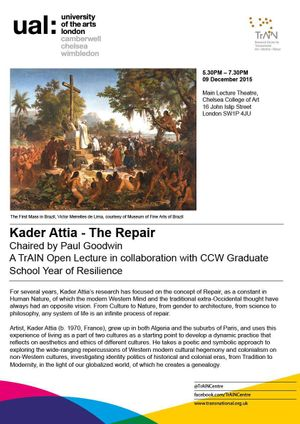 TrAIN Open Lecture with CCW Year of Resilience: Kader Attia - The Repair