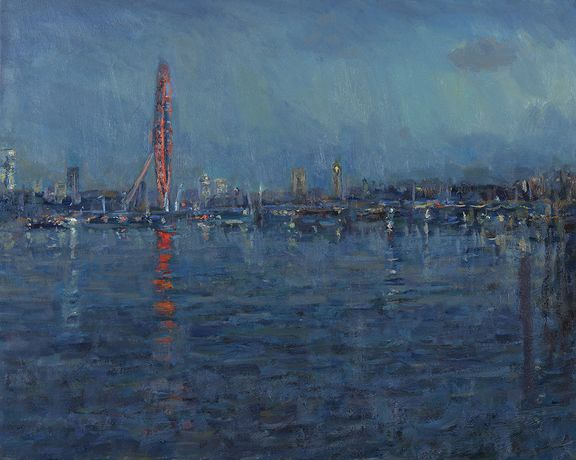 The London Eye at Dusk, oil on canvas 61 x 76cm