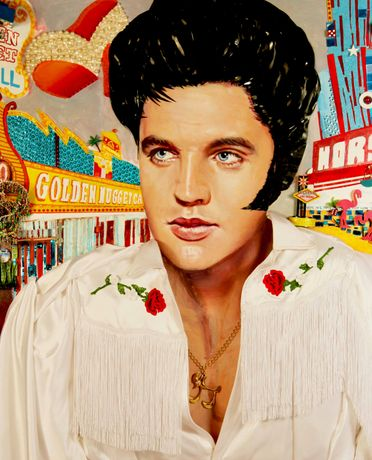 StrosbergMandel Elvis in Vegas, 2018; Oil and Assemblage (60 x 45 in.)