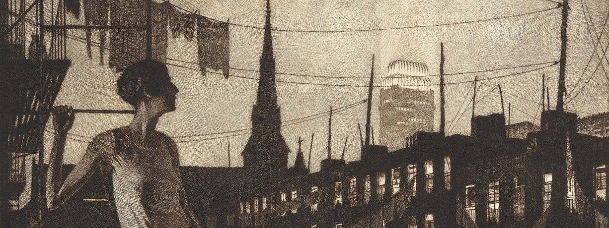 Glow of the City (detail), 1929, Martin Lewis, drypoint on ivory laid paper. The Huntington Library, Art Collections, and Botanical Gardens. Purchased with funds from Russel I. and Hannah S. Kully. © Estate of Martin Lewis